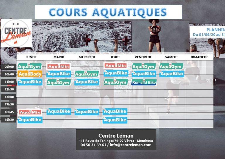 Centre Léman – Planning des cours Aquatiques